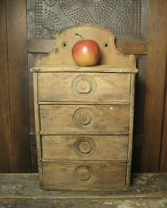 Antique Primitive Spice Cabinet, Chest - 7 Drawer Apothecary ...