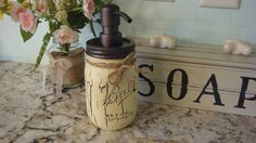 Crackle Painted Ball Pint Mason Jar Soap Lotion by ItWorks4Me