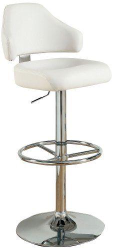 Furniture of America Reverse Curving Leatherette Swivel Bar Stool, White