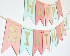 Mint Coral Peach Light Coral and Gold Birthday Banner