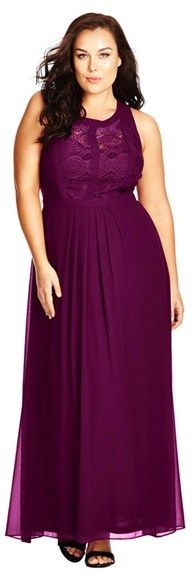 Plus Size Paneled Lace Bodice Gown