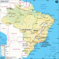Explore the map of BRAZIL, the largest country in South America. The country got its name from the 'brazilwood' tree that was grown along the Brazil's coast. Ecuador and Chile are the only South American countries that do not share the border with Brazil. It is the only Lusophone (Portuguese speaking) country in America and also the largest in the world.