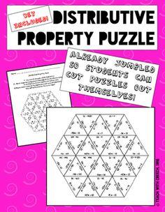 Distributive Property Puzzle - Math Game - Algebra Game
