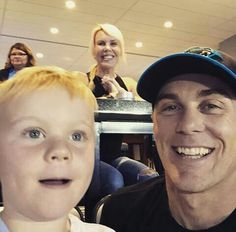 The Harvick's hanging out at a Panther's game
