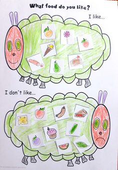 Kids practise expressing food preferences while learning food vocabulary from the story. Available in black and white and colour. Why not use a mix of both? Get it in our Very Hungry Caterpillar Activity Pack. Eyfs Activities, Preschool Activities, Activities For Kids, Activity Ideas, The Very Hungry Caterpillar Activities, Hungry Caterpillar Craft, Minibeasts Eyfs, Toddler Activity Board, Chenille