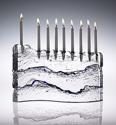 "$210  7""H x 11""W x 2.5""D  Wave+Menorah by Joel+and+Candace+Bless: Art+Glass+Menorah available at www.artfulhome.com"