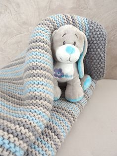 couverture bébé tricot chiot Arthur (doudou de Manu. Couleurs à utiliser)