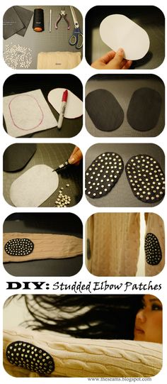 Studded Elbow Patches #diy #elbowpatches #sweater