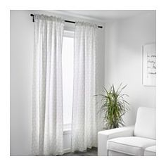 IKEA - FLÖNG, Curtains, 1 pair, , The curtains let the light through but provide privacy so they are perfect to use in a layered window solution.The curtains can be used on a curtain rod or a curtain track.The heading tape makes it easy for you to create pleats using RIKTIG curtain hooks.You can hang the curtains on a curtain rod through the hidden tabs or with rings and hooks.