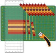 Patchwork: Cómo hacerlo usted mismo. Corte las tiras de tela cosidas, reorganizarse en patrones y diseños con una regla transparente, cuchilla giratoria en la estera de corte, para las artes, artesanías, costura, quilting, aplicaciones, proyectos de bricolaje. Foto de archivo