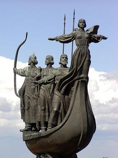 Most boat floating on the waves of the Dnieper, there are three brothers - Kiy, Shchek, Horeb and their sister Lybid. This - the legendary founders of Kiev. Morning View, Stone Carving, Ancient Greece, Public Art, Lovers Art, Sculpture Art, Ukraine, Medieval, Art Deco