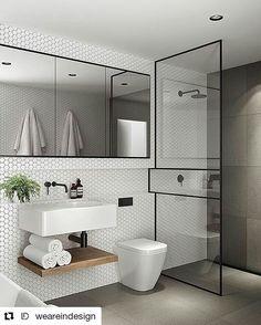#TileTuesday: This black and white bathroom is made EPIC thanks to the honeycomb tiles!  #bathroominspiration #bathroomdesign #back2bathtime #bathroombeautiful #interiordesign