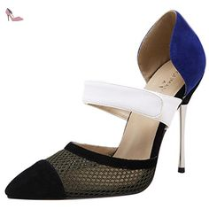 Oasap Women's Pointed Toe high Heels Color Block Pumps, Blue EURO40/US9/UK7 - Chaussures oasap (*Partner-Link)