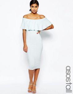 ASOS+TALL+Ruffle+Off+Shoulder+Bardot+Pencil+Midi+Dress