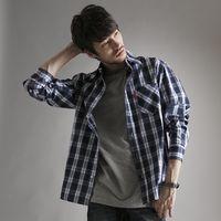 【早秋款↘任兩件1400元】EDWIN 棉質格紋薄長襯衫-男款 暗藍色