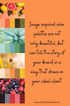 Image inspired color palettes are not only beautiful, but can tell the story of your brand in a way that draws in your ideal client. www.thebrightetside.com Home Based Business, Online Business, Midlife Career Change, Hiring Process, Article Writing, Be Your Own Boss, Work From Home Moms, Make It Through, Setting Goals