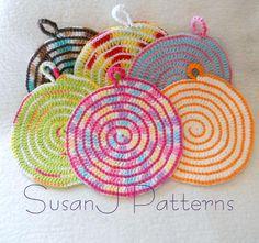 (4) Name: 'Crocheting : Spiral Macaroni Hot Pads-Crochet Pattern
