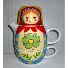 Babushka Tea Set red scarf blue dress