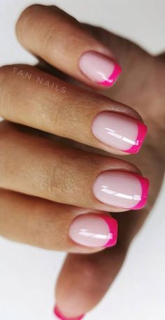 Pink Tip Nails, Cute Gel Nails, French Manicure Nails, Chic Nails, Funky Nails, Cute Acrylic Nails, Stylish Nails, Trendy Nails, Acrylic Nail Shapes