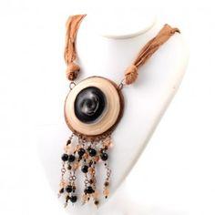 Vetrofuso by Daniela Poletti necklace black and beige silk