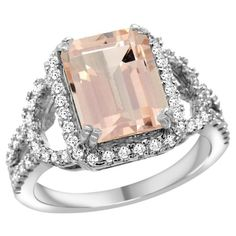 14k White Gold Natural Morganite Ring Octagon 10x8mm Diamond Halo, 1/2inch wide, size 8