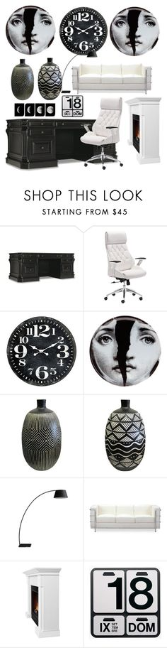 """Black and white"" by elen-kajaia on Polyvore featuring interior, interiors, interior design, home, home decor, interior decorating, Hooker Furniture, Fornasetti, Zuo and Real Flame"