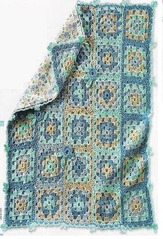 Blue and Brown Squares Baby Blanket free crochet graph pattern