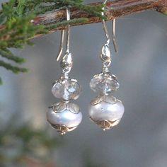 Sea Pearl Earrings, wedding, moss amethyst. $35.00, via Etsy.