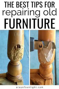 How to easily repair old dressers, thrift finds, bedroom furniture, and old wood furniture. These are the best resources to have in your back pocket to fix chewed up furniture, repair chipping… Diy Furniture Repair, Restoring Old Furniture, Diy Home Repair, Refurbished Furniture, Repurposed Furniture, Furniture Projects, Painting Furniture, Upcycled Furniture Before And After, Table Furniture