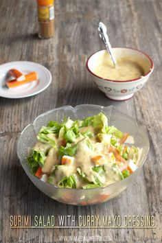 Surimi Salad with Curry Mayo Dressing - my favorite fresh Crab sticks salad… Surimi Recipes, Spicy Recipes, Gourmet Recipes, Healthy Recipes, Healthy Foods, Salad Dressing Recipes, Salad Recipes, Mayo Dressing, Crab Stick