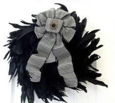 French Chic Boudoir Black Feather Wreath by WreathDiva on Etsy, $39.99