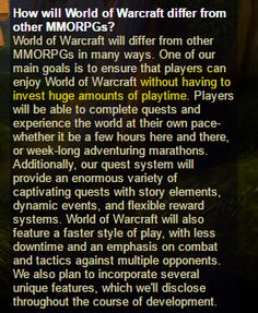 This post from the original world of warcraft website dated Oct 12 2001. Shows that the game has always tried to appeal to both hardcore and casual players. #worldofwarcraft #blizzard #Hearthstone #wow #Warcraft #BlizzardCS #gaming