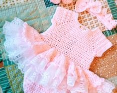Gorgeous pink crochet baby dress set with shoes and a crown, this one is lightweight and beautiful for summer Crochet Ruffle, Crochet Baby, Romper Dress, Dress Set, Baby Dress Clothes, Baby Dress Patterns, Baby Layette, Crochet Amigurumi, Baby Dragon