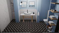 Cementtegels kun je prima in je badkamer toepassen. Serie CANNES. Collectie FLOORZ