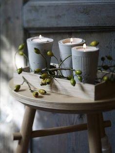 Selbstgebastelte Kerzenständer aus Beton