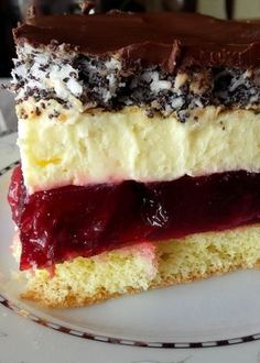 Stuff my ideas: Cherry cake with poppy seeds Polish Desserts, Polish Recipes, Baking Recipes, Cookie Recipes, Dessert Recipes, Buttery Biscuits, Cherry Cake, Mini Foods, Homemade Cakes