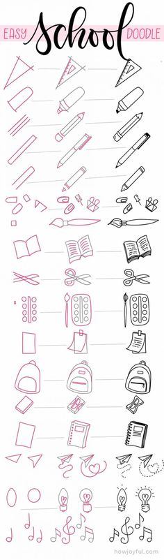 Check out 100+ easy things to draw for your bullet journal, to add to your lettering work or just for fun, from simple doodles to cute cups, coffee, fruit, snacks, food, school supplies and so much more! #easydoodle #easythingtodraw #drawingeasy #doodle #doodleeasy #doodlecute #cutethingstodraw