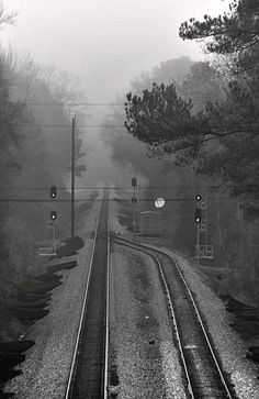 Ghostly Rails is a photograph by Lynn Terry. Source fineartamerica.com Cloudy Weather, Railroad Pictures, Railroad History, Train Times, Holland, Ferrat, Train Tracks, Train Station, Model Trains