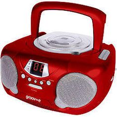 Portable Audio and Headphones: Groov-E Gvps713 Portable Audio Cd Player Radio Boombox Aux Input Led New - Red BUY IT NOW ONLY: $24.89