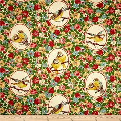 Richloom Budgie Twill Garden from @fabricdotcom  Screen printed on cotton twill this lightweight fabric is very versatile. This fabric is perfect for window treatments (draperies, valances, curtains, and swags), bed skirts, duvet covers, pillow shams, accent pillows, tote bags, aprons and light upholstery. Colors include red, coral rose, yellow, brown, green, teal and ecru with metallic gold accents.