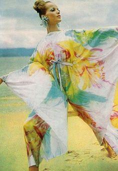 Veruschka is wearing Irene Galitzine,  Vogue UK July 1965