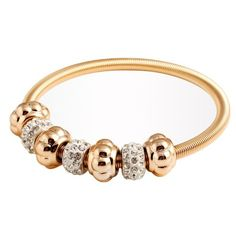 GEM.C Shambhala Beads Elaticity Bangle Golden Bracelet