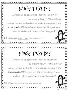 Wacky, Tacky the Penguin Fun!