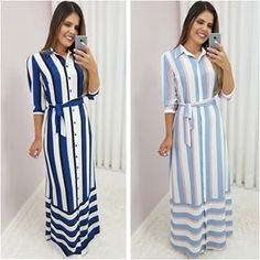 Image may contain: 2 people, people standing and stripes Modest Dresses, Casual Dresses, Best Prom Dresses, Abaya Fashion, Fashion Dresses, Abaya Mode, Hijab Stile, Hijab Fashionista, Dress Skirt