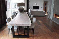 Maar dan de poten iets naar binnen zodat er ook iemand op de kopse kant kan zitten Dining Bench, Dining Chairs, Dining Room, Tadelakt, My Furniture, Dream Rooms, Living Room Interior, Luxury Living, Wood Table