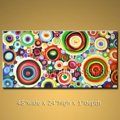 """Large Abstract Paintings   Hand-Painted Large Art Paintings On Canvas Modern Abstract 48"""" x 24 ..."""
