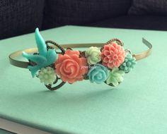 Coral+Mint+Green+Wedding+Headband+Bridal+Headpiece+by+Jewelsalem