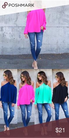 ❤️ Super hot cold shoulder halter shirt. All sizes Other colors on separate listings. Super Hot cold shoulder halter shirt.Various sizes. Look so good on & comfy too. Super sexy & great for that upcoming date night or casual afternoon. U will ❤️ this. Blue, Black & Green SHIRTS ARE ON A SEPARATE LISTING! Great for any occasion!!! boutique Tops