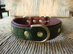 Custom Size Bridle Leather Dog Collar. Deep Green by FourRobins, $58.00