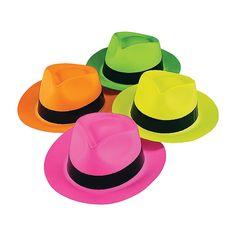 Neon Gangster Hats - OrientalTrading.com